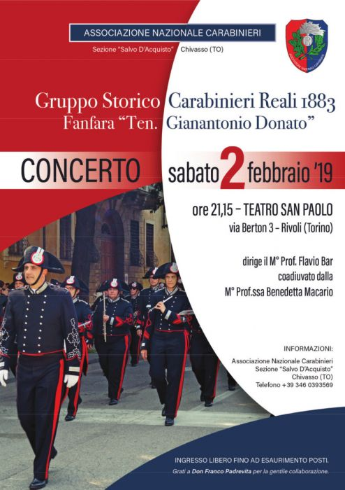 Carabinieri Fanfare in Concert at the San Paolo Theater in Rivoli (TO)