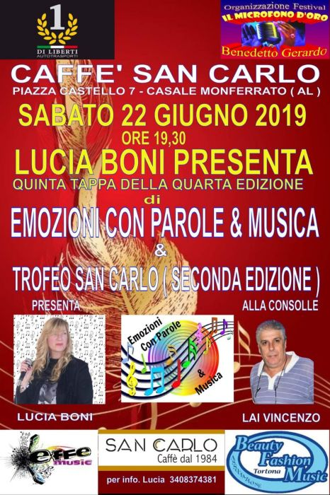 "Song Competition: ""Emotions with words and music"" - San Carlo trophy"
