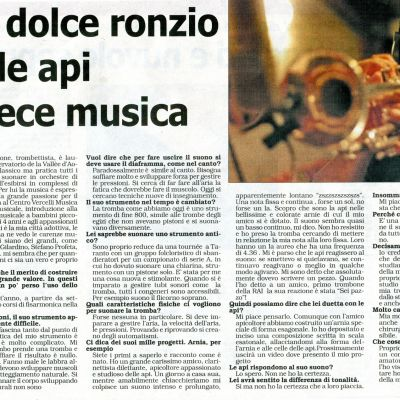 "Interview by D. Tortorella - ""LA SESIA"" August 30, 2016"